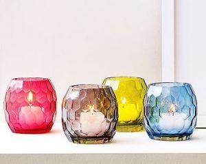 Faceted Glass Cande Holders